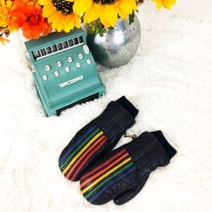 Accessories - Vintage 1980's Leather Rainbow Mittens